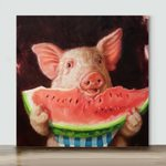 Pig Eating Watermelon– Mini Paint by Number Kits (Already Framed Canvas)