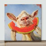 Sheep Eating Watermelon– Mini Paint by Number Kits (Already Framed Canvas)