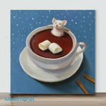 Little White Mouse In Coffee– Mini Paint by Number Kits (Already Framed Canvas)