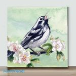 Mini-Black & White Warbler(Already Framed Canvas)