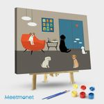Mid Century Modern Room with Dogs