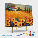 Tuscan Sunflowers With House