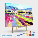 Colored lavender field