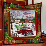 Be Merry And Bright. Red Truck Quilt Blanket ART03Q