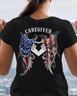 Caregiver american flag colored angel wings t shirt hoodie sweater sweater