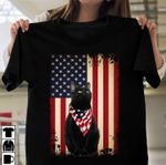 Black cat wearing american flag color bandana for cat lover t shirt hoodie sweater sweater