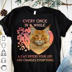 Every once in a while a cat enters your life and changes everything heart shape for cat lover t shirt hoodie sweater sweater