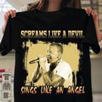 Chester bennington screams like a devil sings like an angel for fan t shirt hoodie sweater sweater