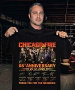Chicago fire 8th anniversary 2012 2020 with all characters signatures thank youfor the memories t shirt hoodie sweater sweater