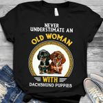 Never underestimate an old woman with dachshund puppies for dog lover t shirt hoodie sweater sweater