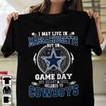 I may live in massachusetts but on game day my heart and soul belongs to dallas cowboys for fan t shirt hoodie sweater sweater
