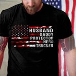 Official husband daddy protector hero trucker american flag veteran happy father's day t shirt hoodie sweater sweater