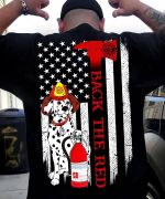 Back the red dalmatian american flag for firefighter t shirt hoodie sweater sweater