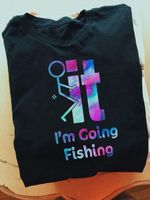 Obscene stick man im going fishing holographic color art style funny for fishing lover t shirt hoodie sweater sweater