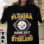 I may live in florida but on game day my heart soul belongs to steelers  t shirt hoodie sweater sweater