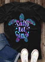 Salty lil beach turtle shape holographic color style funny t shirt hoodie sweater sweater