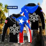 Puerto rico flag hoodie custom name