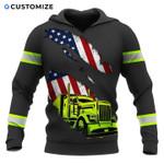 Us flag truck tear hoodie