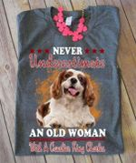 Never underestimate an old woman with a cavalier king charles shirt