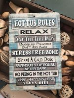Hot tub rules poster canvas