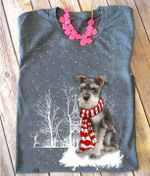 Schnauzer wear scarf snow for lovers shirt