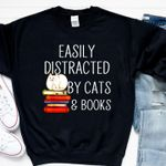Easily distracted by cats & books sweater