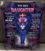 To my daughter sometimes it's hard to find words tell you how much you mean to me love dad lion mandala pattern Quilt Blanket