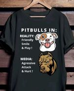 Pitbull in reality friends smile play media agressive attack & hurt tshirt