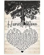 Neil young harvest moon lyrics heart typography for fan poster
