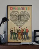 BTS dynamite heart lyrics typography signed for fan poster