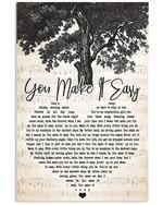 Jason Aldean you make it easy heart lyrics typography for fan poster