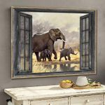 Elephant family african wildlife outside window poster