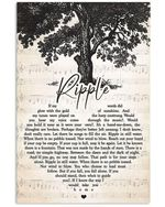 Grateful dead ripple song heart lyrics typography for fan poster