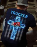 Trucker jesus cross american flag god for lovers shirt