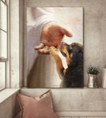 Rottweiler look at jesus poster canvas