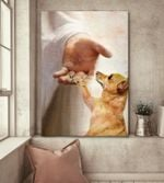 Chihuahua handshake with jesus poster canvas