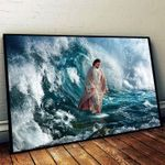 Jesus walking on the sea poster canvas