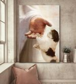 Shih tzu hand shake with jesus poster canvas