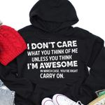 I don't care what you think of me unless you think i'm awesome hoodie