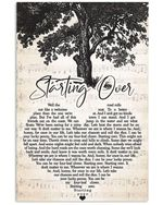 Starting over chris stapleton lyric heart shape poster canvas for fans