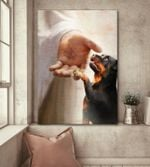 Rottweiler handshake with jesus poster canvas