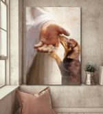 Dachshund handshake with jesus poster canvas