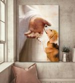Beagle takes jesus hand god lovers poster