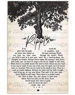 Grateful death ripple lyric heart shape poster canvas for fans