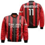 AC Milan Zlatan Ibrahimovic 11 Home Jersey Style 3D Allover Gift For AC Milan Fans Bomber Jacket