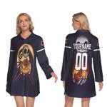 Jack Skellington Chicago Bears Nightmare Navy 3D Allover Custom Name Number Gift For Bears Fans Halloween Lovers Longsleeve Lapel Dress