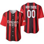 AC Milan Football Team Home Jersey Style 3D Allover Custom Name Number Gift For AC Milan Fans Baseball Jersey
