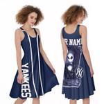 Jack Skellington New York Yankees Navy 3D Allover Custom Name Gift For Yankees Fans Halloween Lovers A-line Dress