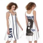 Jack Skellington Tampa Bay Rays White 3D Allover Custom Name Gift For Rays Fans Halloween Lovers A-line Dress