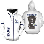 Jack Skellington Tampa Bay Rays White 3D Allover Custom Name Gift For Rays Fans Halloween Lovers Hoodie